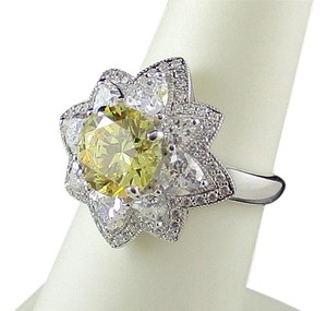 Xavier 3.68ct Absolute Canary Starburst Design Ring - Size 6
