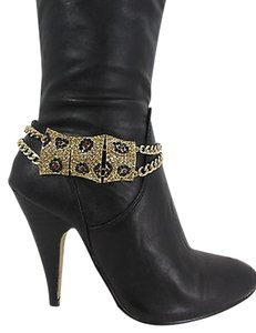 Leopard Women Fashion Boot Chain Bracelet Strap Gold Black Metal Shoe Charm