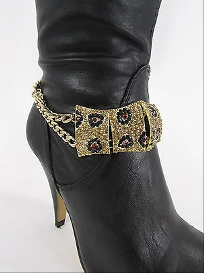 Other Leopard Women Boot Chain Strap Gold Black Metal Shoe Charm