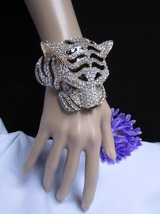 Other Women Gold Black Cuff Bracelet Panther Leopard Big Tiger Head Rhinestones