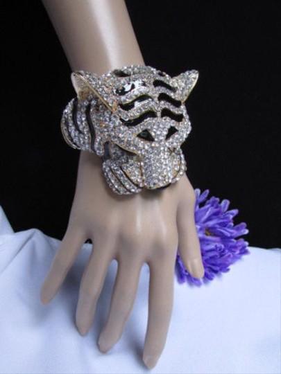 Other Women Gold Black Cuff Bracelet Panther Leopard Big Tiger Head