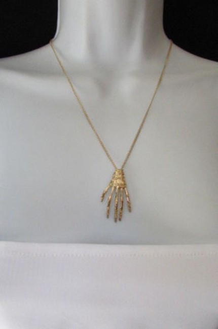 Alwaystyle4you Gold Women Fashion Thin Chains Skeleton Hand Halloween Necklace Alwaystyle4you Gold Women Fashion Thin Chains Skeleton Hand Halloween Necklace Image 1