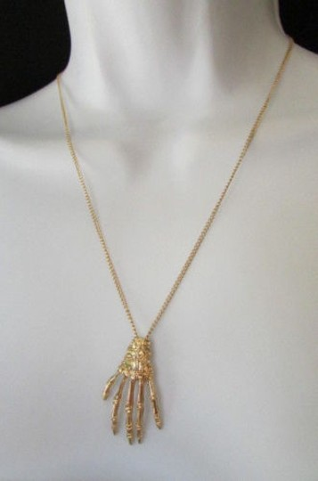 Other Women Fashion Necklace Gold Thin Chains Skeleton Hand Halloween