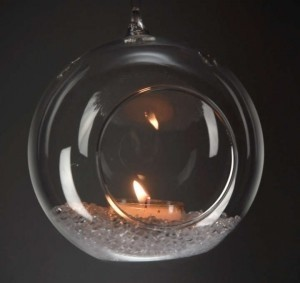 Clear Crystal Glass Hanging Bubbles Tea Light Holders Set 6 Votive/Candle