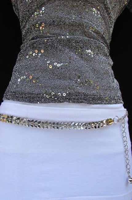 Alwaystyle4you Silver Women Narrow Chains Rhinestones Leaf Buckle Belt Alwaystyle4you Silver Women Narrow Chains Rhinestones Leaf Buckle Belt Image 1