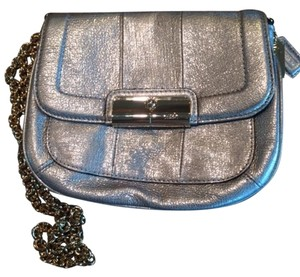 Coach Leather Silver Clutch