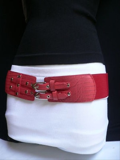Other Women Waist Hip Elastic Red Fashion Belt Silver Studs Double Buckles