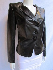Armani Collezioni Women Lambskin Leather Soft Fashion 1044 Black Jacket