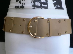 Women Hip Waist Elastic Gray Fashion Belt Gold Studs Buckle 22-31
