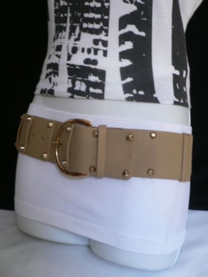 Other Women Hip Waist Elastic Gray Fashion Belt Gold Studs Buckle 22-31