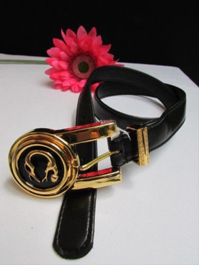 Other Women Black Faux Leather Fashion Belt Gold Metal Cheetah Tiger Buckle 28-32ml