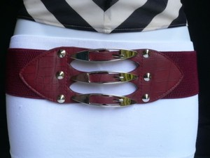 Other Women Hip Waist Brown Faux Leather Belt Silver Buckles Studs 30-40