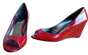 Marc Fisher Patent Leather Wedge Peep Toe Red Wedges