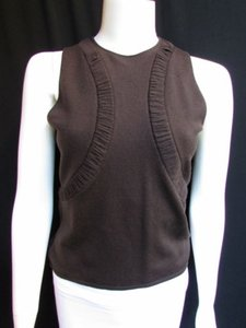 Valentino Women Dark Thin Wool Knit Sleevesless Sweater Top Browns