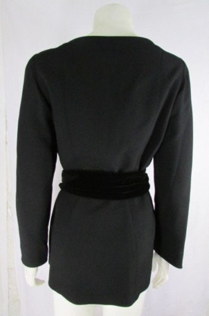 Thierry Mugler Women Cocktail Velvet Belt Black Jacket