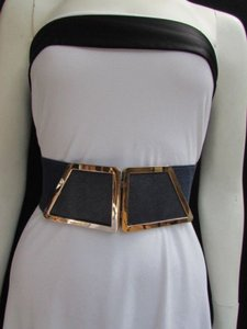 N Women Waist Hip Navy Blue Elastic Fashion Belt Gold 80s Buckle 25-34