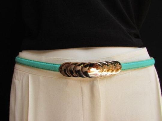 Other Women High Waist Hip Blue Thin Fashion Belt Gold Circles Buckle 29-37