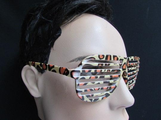 Other Men Plastic Trendy Fashion Leopard Sunglasses Beige Orange Animal Print Cool