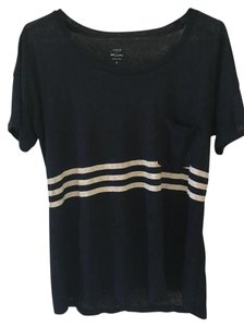 J.Crew Linen Stripes T Shirt Navy and white