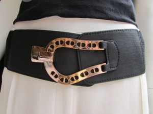 Other Women Waist Hip Black Elastic Fashion Belt Gold Horse Shoe Buckle
