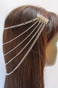 Other Women Silver Metal Multi Waves Chains Hair Fashion Jewelry Claws Headband