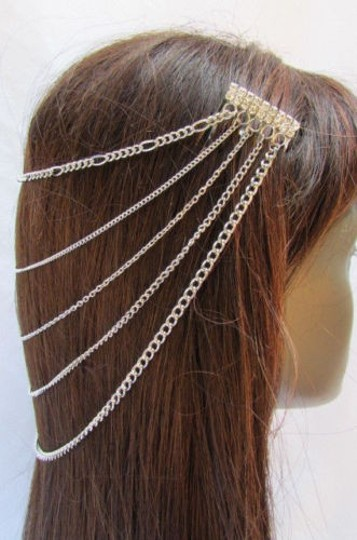 Other Women Silver Multi Waves Chains Hair Jewelry Claws Headband