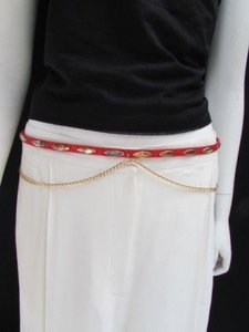 Other Women Hip Red Snake Skin Print Thin Gold Metal Chains Fashion Belt 30-37