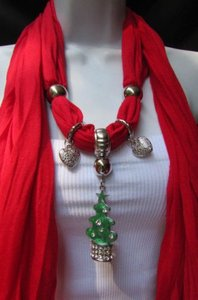 Other Women Fashion Soft Scarf Green Snow Christmas Tree Metal Pendant Red White