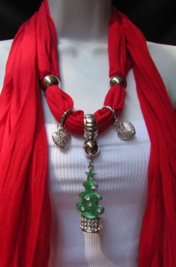 Other Women Soft Scarf Snow Christmas Tree Metal Pendant Red