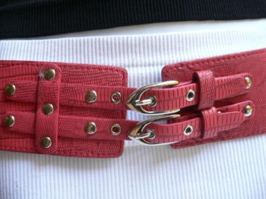 Other Women Elastic Hip Waist Red Western Wide Belt Double Buckles 27-37 S-m-l