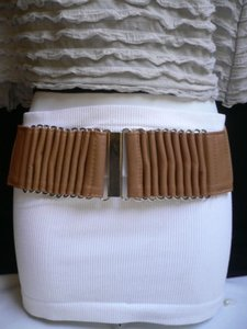 Other Women Wide Waist Hip Brown Fashion Belt Silver Metal Buckle 25-31