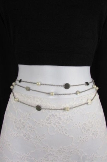 Other Women Silver Multi Chains Fashion Belt Hip Waist Pearl Beads