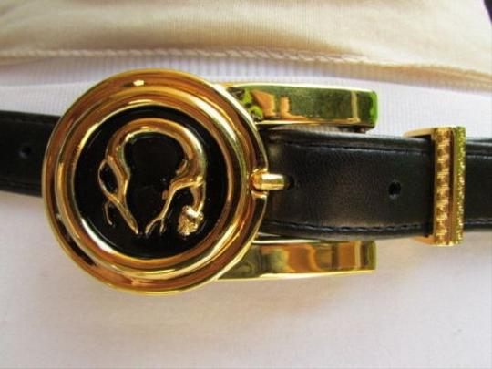 Other Women Black Faux Leather Fashion Belt Gold Metal Cheetah Tiger Buckle 25-29sm
