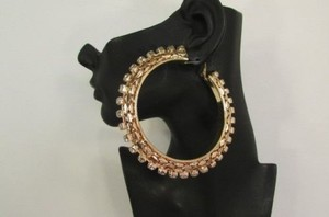 Other Women 3.5 Hoop Metal Chains Big Fashion Hook Earrings Rose Gold