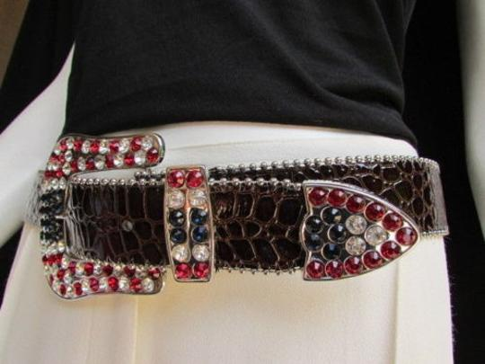 Other Women Brown Leather Western Fashion Belt American Flag Big Buckle 36-40