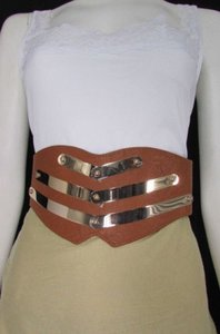 Other Women High Waist Fashion Elastic Corset Belt Metals Black Brown Gold Silver