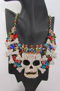 Women Metal Big Skull King Skeleton Fashion Necklace Gold Silver Rhinestones