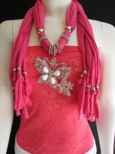 Women Soft Fabric Pink Fashion Scarf Long Necklace Huge Butterfly Pendant