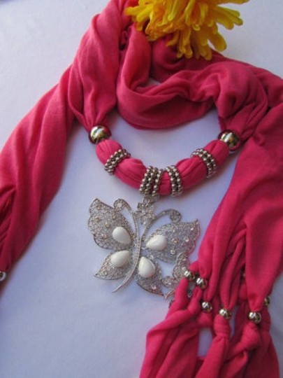 Other Women Soft Fabric Pink Fashion Scarf Long Necklace Huge Butterfly Pendant
