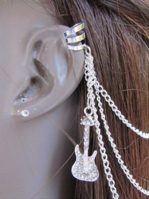 Alwaystyle4you Silver Women Guitar Chains Hair Pin Connected Cuff Earrings Alwaystyle4you Silver Women Guitar Chains Hair Pin Connected Cuff Earrings Image 1
