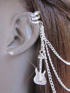 Other Women Silver Guitar Metal Multi Chains Fashion Hair Pin Connected Cuff Earring