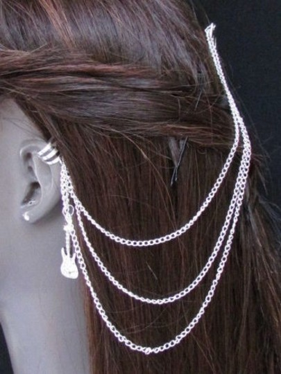 Other Women Silver Guitar Chains Hair Pin Connected Cuff Earring