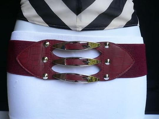 Other Women Hip Waist D Red Faux Leather Belt Silver Buckles Studs 30-38 L