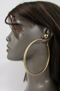 Women Round Fashion Earrings Hoop Metal Big Hook Silver Gold Double Set 4