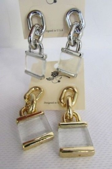 Other Women Chains Chunky Metal Locks Fashion Hook Earrings Set Silver Gold