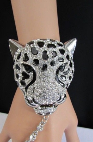 Other Women Silver Metal Hand Chain Leopard Head Rhinestones Slave Bracelet Ring