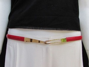 Other Women High Waist Hip Red Thin Fashion Belt Metal Gold Buckle 22-40
