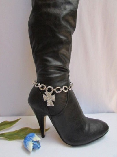 Other Women Rhinestones Chunky Chain Rodeo Western Charm Big Cross Silver Boots