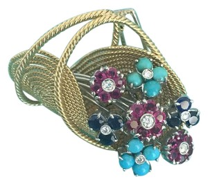 Tiffany & Co. Jean Schlumberger Brooch With Rubies, Diamonds, Sapphires And Persian Turquoise