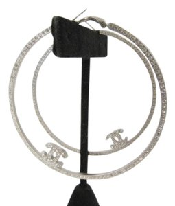 Chanel EXCLUSIVE CHANEL LARGE HOOP CRYSTAL EARRINGS SILVER SOLD OUT 08